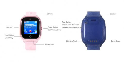 KT01 - Vattentät GPS-klocka för barn med 2MP-kamera - Svart