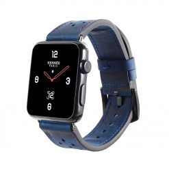 Alzare - Läderrem för Apple Watch 42/44 mm - Blå