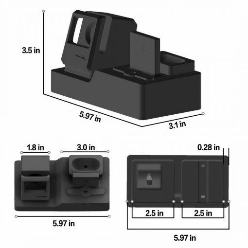 3 i 1 Vintage silikon laddningsstation - Svart