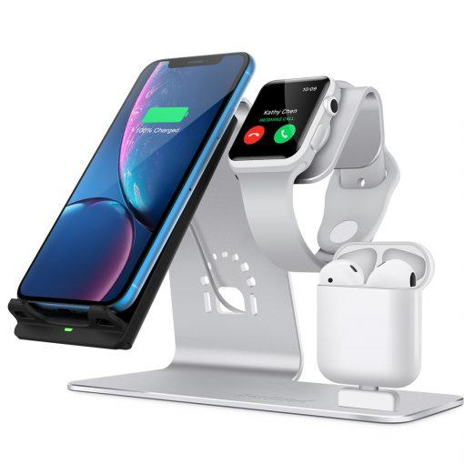 3 i 1 10W aluminiumdocka för Apple Watch, Iphone & Airpods - Silver