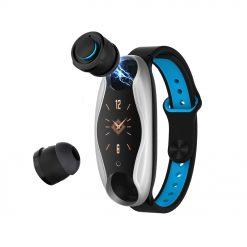 LT04 - Fitnessklocka med inbyggda hörlurar - Svart/blå