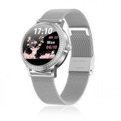 KW20 - Elegant fitness klocka för kvinnor med kristaller - Silver