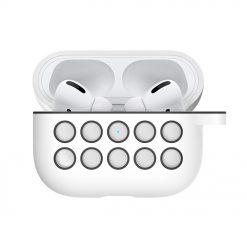 Silikonskal till Apple AirPods Pro - Vit/Svart med Krok