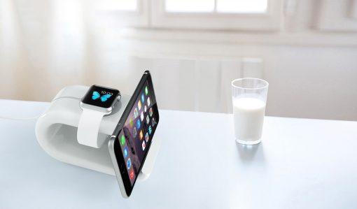 i6 Laddningsdocka Apple watch & telefonhållare - Vit