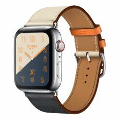 Blend - Två färgade äkta läder för Apple Watch 38/40 mm - Mörkblå/ Vit
