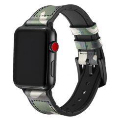 Camo Silikon/Läderrem för Apple Watch 42/44 Mm - Jungel