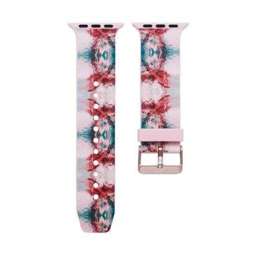 Print - Silikonrem för Apple Watch 42/44 mm - Rosa blomma