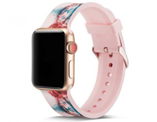 Print - Silikonrem för Apple Watch 38/40 mm - Rosa blomma