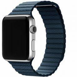 Läder loop -Apple Watch läderrem- 42/44 mm - Midnight Blue
