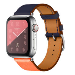 Blend - Två färgat äkta läder för Apple Watch 38/40 mm - Orange/Blå