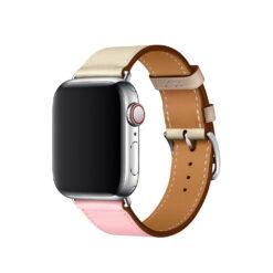 Blend - Två färgade äkta läder för Apple Watch 42/44 mm - Rosa / Vit