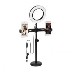 Ringljus på bord-stativ med 2x smartphonehållare