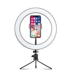 10-tums ringljus på bordstativ med smartphonehållare