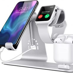 3 i 1 Aluminium dockningsstation för Apple Watch, Iphone & Airpods - Silver